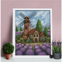 Diamond Painting Windmolen in Lavendel veld